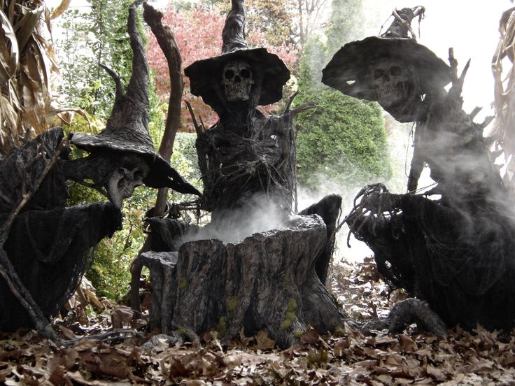 Would be so cool..but would probably scare the little ones on the street ;) Skele-Witches. Awesome yard props!