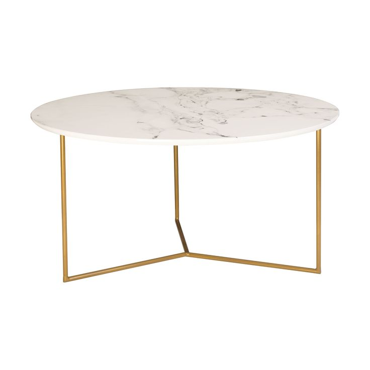 Glacier Coffee Table in Gold and White Printed Marble Finish