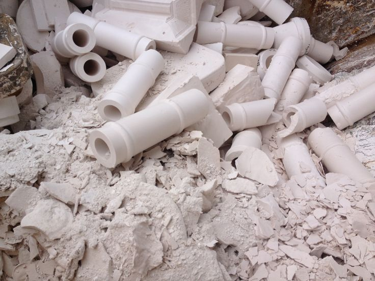Broken moulds at the model makers. Plaster to be reused in model production.