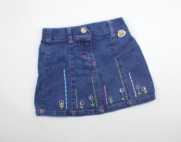 Disney Baby Girl Denim Skirt with Embroidered Flowers in Size 6 Months and Only $3.85 Online at May Bug Treasures Resale!