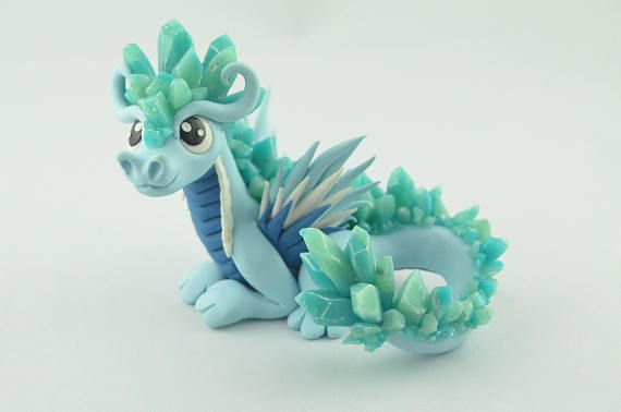 Ice dragon figurine, handmade winter dragon, polymer clay fantasy creature, elemental art, original gift idea, cute kawaii miniature dragon