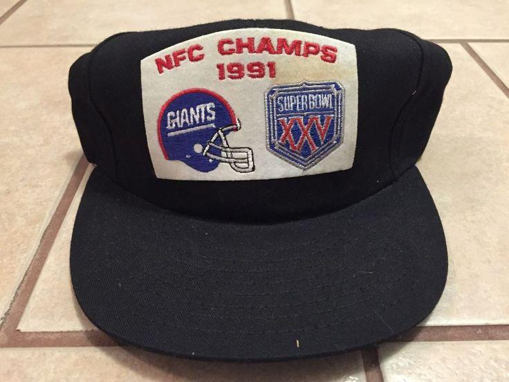 VTG NY Giants 1991 NFC Champs Snapback Hat Felt Patch Super Bowl XXV #Unbranded #BaseballCap