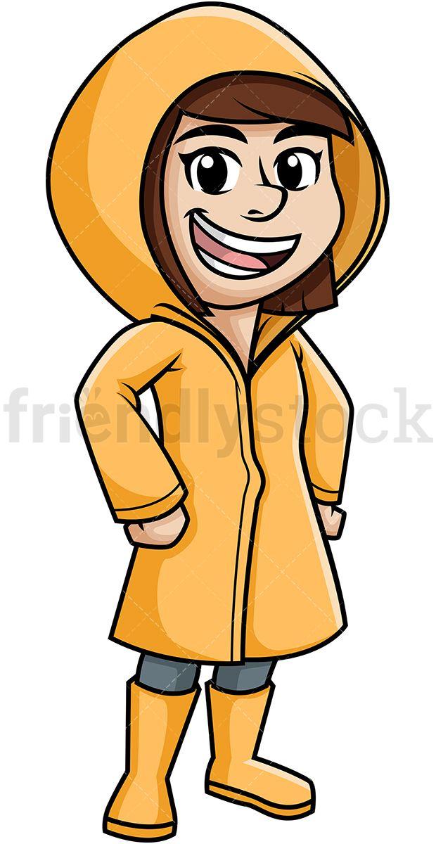 Woman Wearing Raincoat Cartoon Clipart Vector Friendlystock Cartoon Clip Art Cartoon Drawings Cartoon