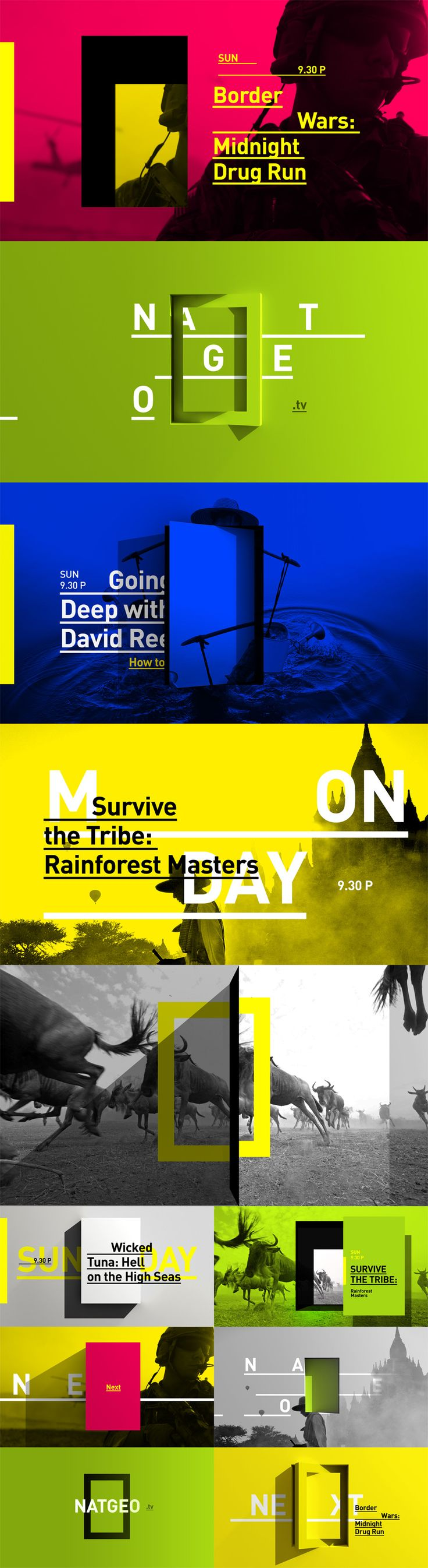 Bright Colors / Color Fields / Duotone Photos / Type Treatments /// Nat Geo Rebranding - Carla Dasso