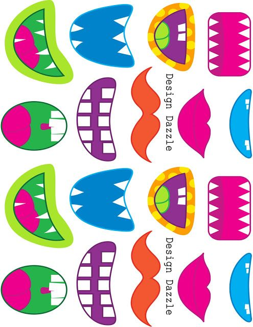 printable face parts. I stuck the monster mouths on the chupa chup sticks for J's class