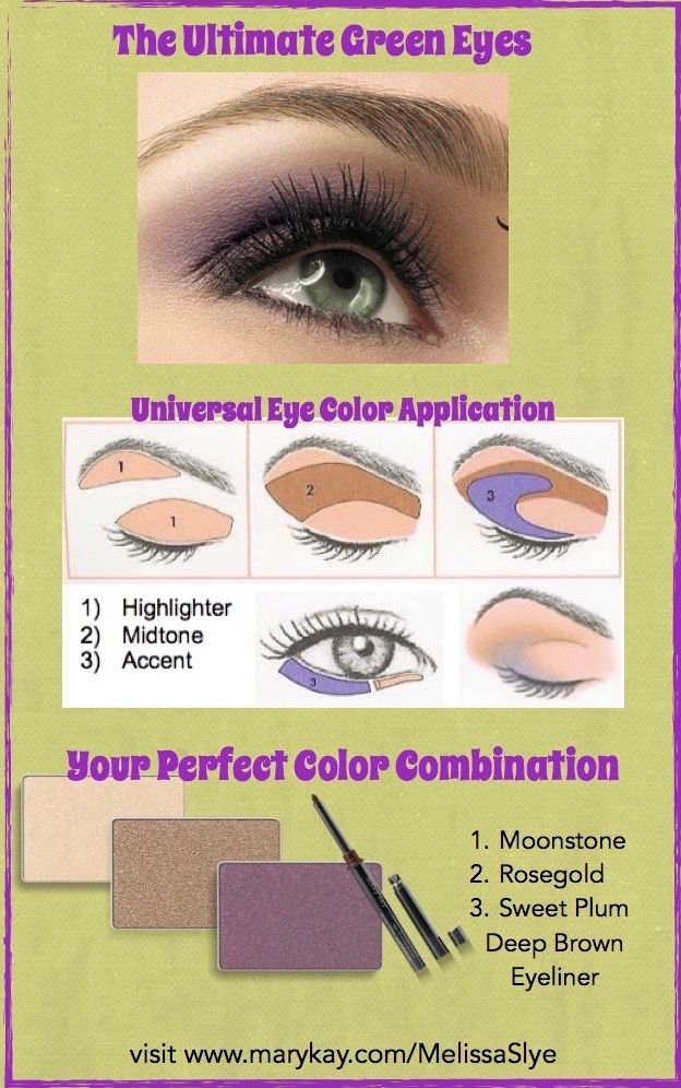 How to apply eye color.... To make your eyes pop choose a complementary shade.  Green eyes work great with purples, plums, and taupes.  Try this easy application technique and blend so there are no hard lines.  Your eye colors should flow into each other seamlessly.  To get this complete look, order Mary Kay Mineral Eye Colors in Rosegold, Sweet Plum, and Moonstone.  Add Eyeliner in Deep Brown.   On my website, click my name and send me an email for a list of specials and a freebies.