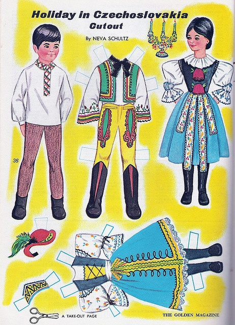 Golden Magazine Paper Dolls - Holiday in Czechoslovakia