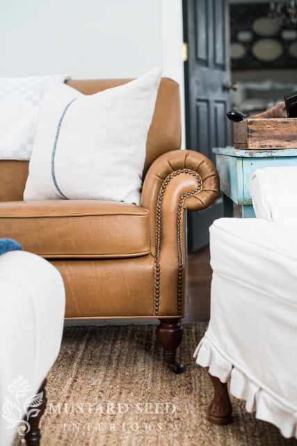 Pottery Barn leather Brooklyn sofa ($2700) available in Toffee (pictured) or espresso.
