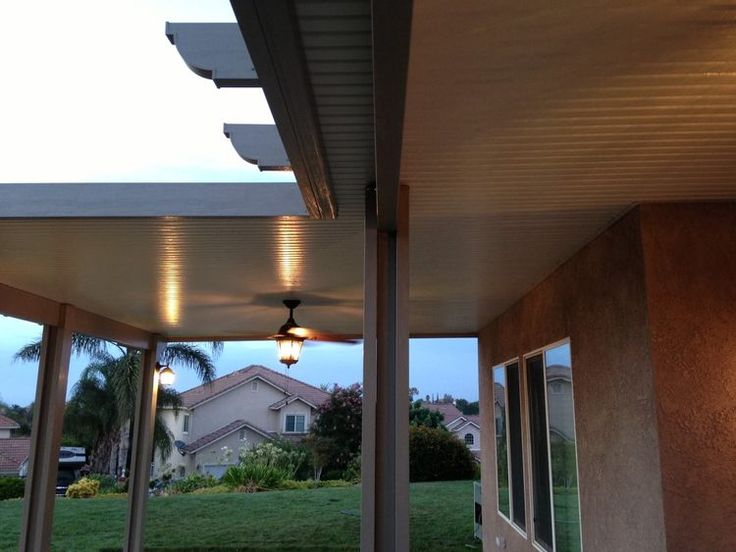 Solid top two tone alumawood patio cover with ceiling fan ...