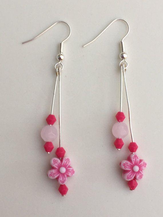 Hand vervaardigde roze dubbele druppel kralen door NorthernFlair