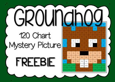 Free 120 Chart Groundhog Day Mystery Picture   This cute groundhog picture is made by following the directions to color in numbers on a 120 chart. Use it as a morning introduction to Groundhog's Day or pair it with a fun writing assignment!Get it HERE!  1-2 120 chart groundhog day math Mrs. Thompson's Treasures mystery pictures numbers