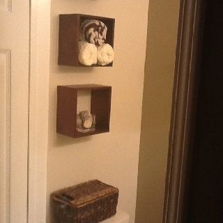 3 Mounted box shelves above toilet. Easy to style and they add interest.   – Woo…   – most beautiful shelves