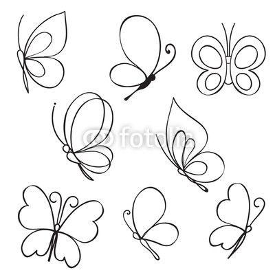 Vector: Set of hand drawn butterflies