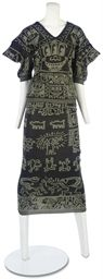 VIVIENNE WESTWOOD AND MALCOLM MCLAREN  'WITCHES' COLLECTION ENSEMBLE  1983-4, the blue jersey printed with a Keith Haring 'Aztek' motif