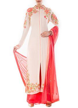 Off White Pure Georgette Palazzo Suit