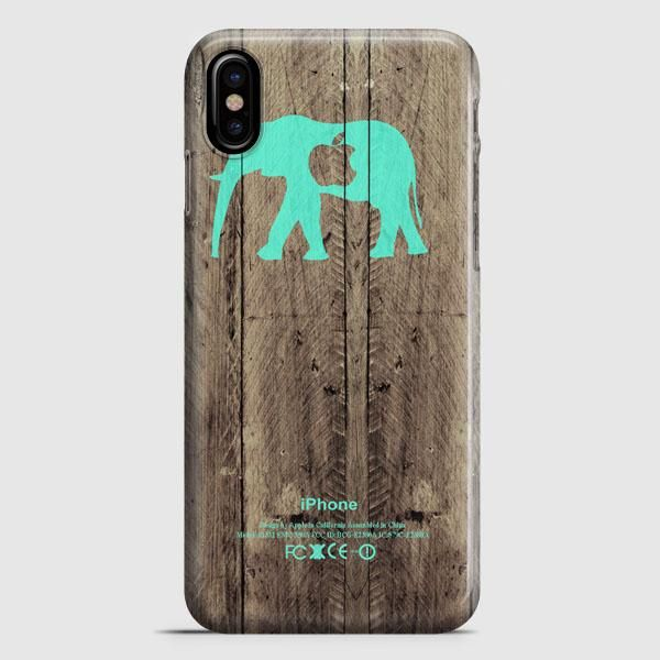 Mint Chevron Elephant On Dark Wood Background iPhone X Case