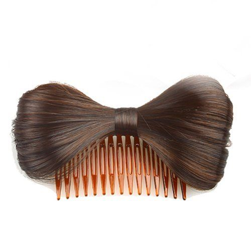 Hair Extension Bowknot Comb Clip Fashion Hairpiece Party New,browncolor by MAYSU. $5.90. Style:Clip-on, Extension. Length:12(±2cm). Package:1x Bow Hair Extension. Material: Synthetic. Color:Brown   ,Color Shown: (Color may vary by monitor.). New hair bow, celebrities like Lady GaGa and Paris Hilton have been   wearing as their latest accessory.  This is a real love it or hate it hair piece!    Girls should never stop your steps for pursuing for beauty and   fa...
