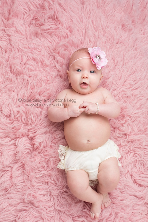 4 month old girl photography portraits  3 month old posing Springfield IL Photographer   Blue Daisy Art
