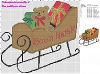 schema punto croce natalizio slitta babbo natale con i regali