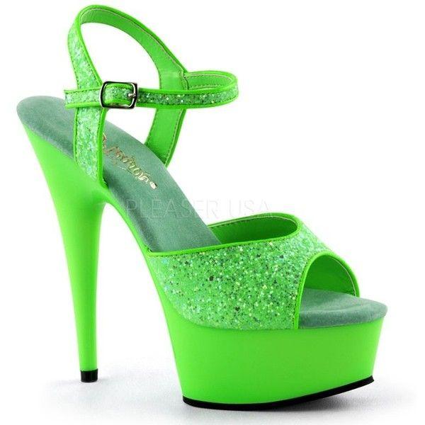 Pleaser Delight 609UVG UV Green Platform Ankle Strap Platform Sandals... (96 AUD) ❤ liked on Polyvore featuring shoes, sandals, ankle strap sandals, neon green sandals, neon green shoes, platform shoes and high heel platform sandals