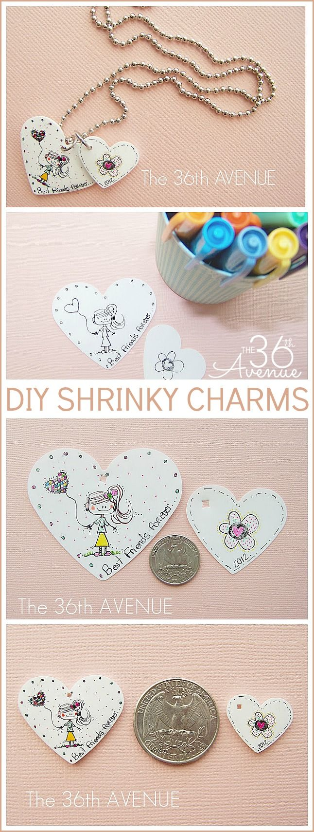 Super cute and easy DIY Shrinky Charm and Necklace Tutorial: Diy Shrinki, Shrinki Charms, Necklaces Tutorials, Gifts Ideas, Shrink Film, Friendship Necklaces, Easy Diy, Cute Diy, Film Friendship