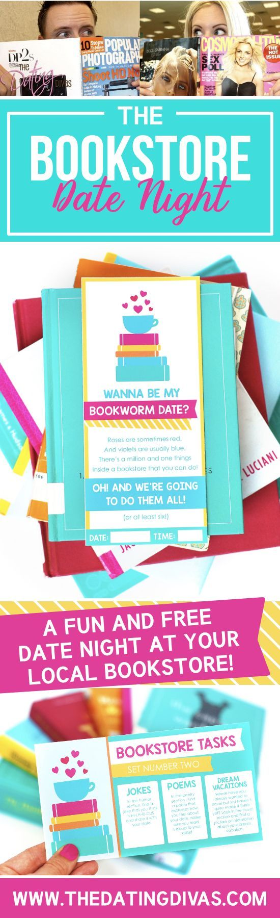 The Bookstore Date Night- the perfect FREE date night idea. Printables from The Dating Divas