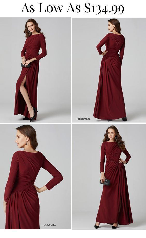 a108cd70e32   127.49  A-Line Boat Neck   Bateau Neck Floor Length Linen Formal Evening  Dress with Side Draping   Split Front by TS Couture®