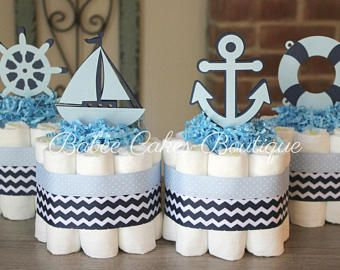 Set of 4 Mini Nautical Diaper Cakes, Light Blue, Navy, Chevron, Polka Dot, Diaper Cake, Baby Shower, Centerpieces, Decor, Boy, Supplies