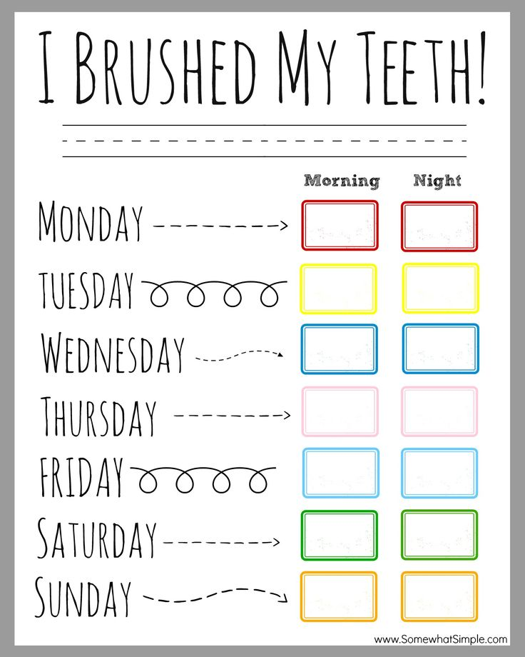 FREE teeth brushing incentive chart from www.SomewhatSimple.com