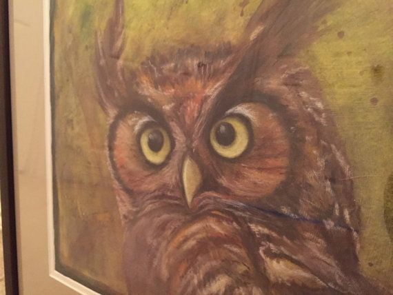 OWL Want This original mixed media painting 12x18 FRAMED in 18x24 Brown Frame?