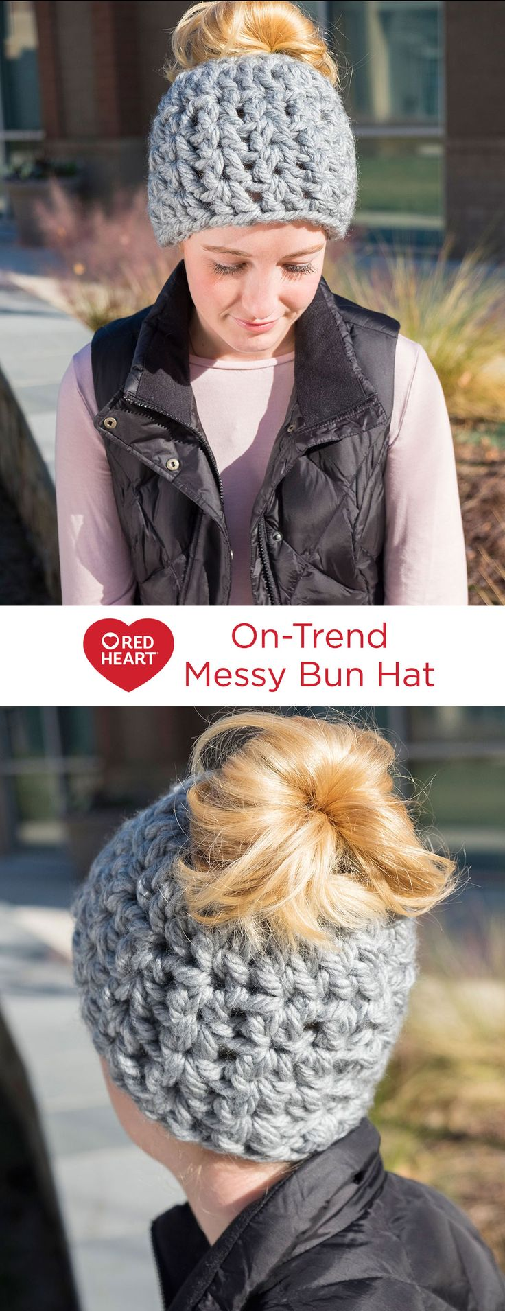 On-Trend Messy Bun Hat Free Crochet Pattern in Red Heart Yarns -- Using jumbo yarn and a big hook, this bun hat can be crocheted in record time. Working around an elastic band ponytail holder for your first round leaves a hole just the right size to allow your messy bun to stay outside your hat.