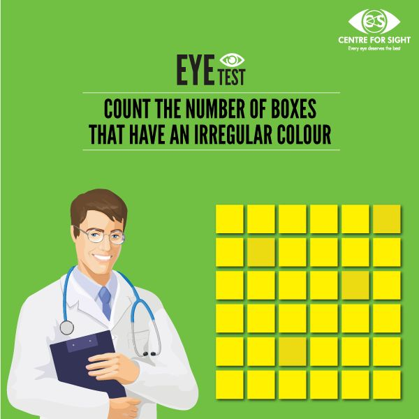 Count the number of boxes which have an irregular colour shade in the matrix, and look out for the correct answers in the comments section. If you are facing a difficulty in counting the boxes, you might have an imperfect Contrast sensitivity. Schedule an eye check now!