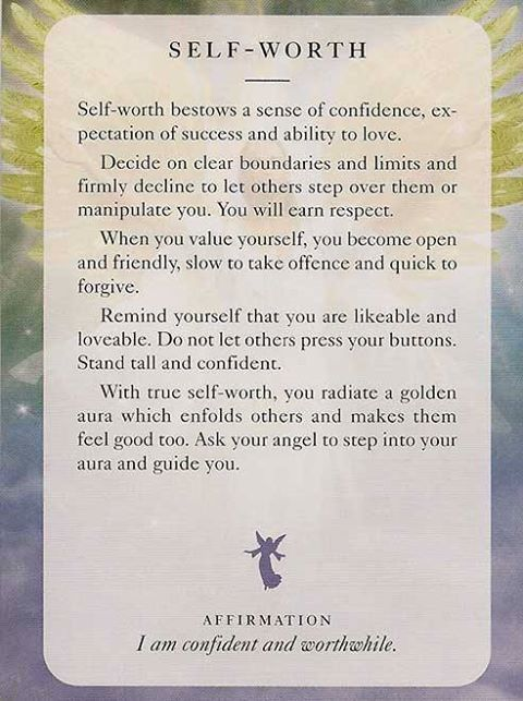 """Today's Angel Card & Affirmation Is """"Self-Worth"""" - I am confident and worthwhile. ♥ Abundant Love, Blessings & (((Soul-Hugs)))- Jacqueline ♥ www.JacquelineJGarner.com ♥ Youtube.com/JacquelineJGarner ♥ www.Facebook.com/JacquelineJGarner ♥   To purchase this card deck- I have a link for them along with several free online card readings on my website at http://www.jacquelinejgarner.com/angel-oracle-card-decks-free-online-card-readings.html ♥"""