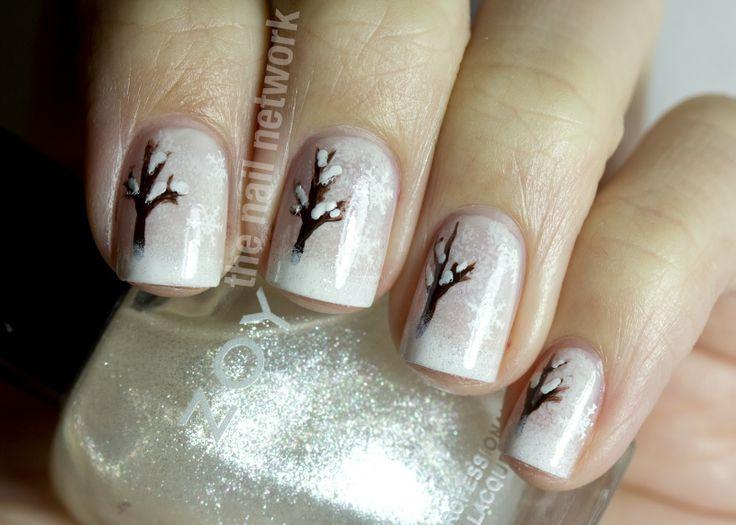 The Nail Network: Snowy Winter Tree Nail Art - so pretty!