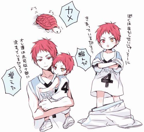 Akashi Seijūrō 赤司 征十郎   Rakuzan Kōkō   KnB     Rather than Akashi splitting, with his other personality in Chibi size.     This is more like Akashi child! Ahhhh I wish AkaKuro and mpreg is the real deal so Kuroko is the mommy and Akashi the Daddy! XD