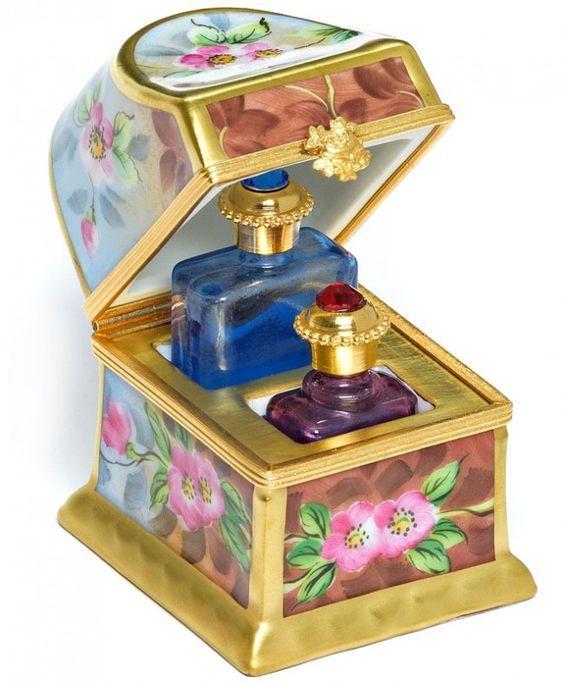 Trunk Keepsake With Perfume Bottles by Limoges