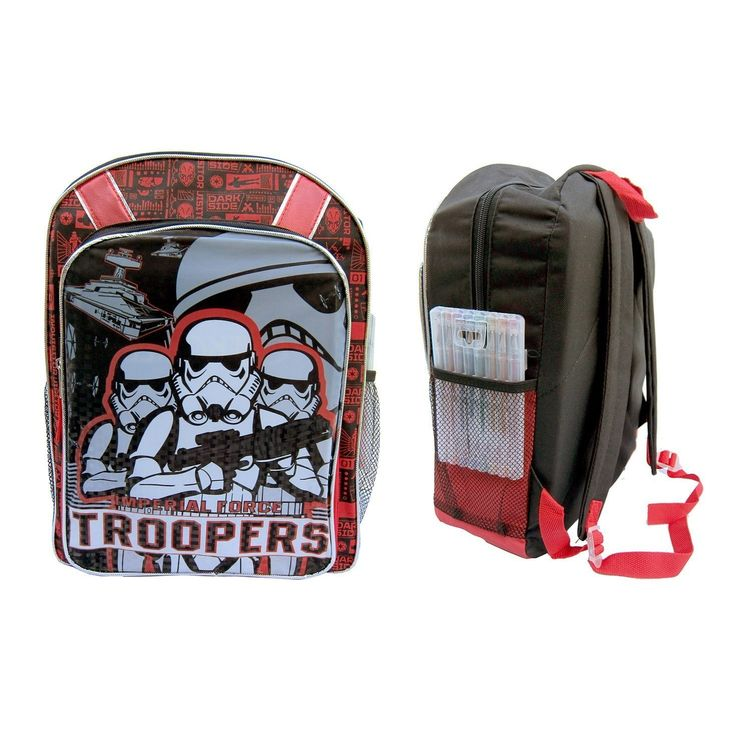 Kids Red Star Wars Backpack Imperial Stormtroopers Movie Characters Comic Book Black Galactic Space Empire School Bag Strap Back Polyester