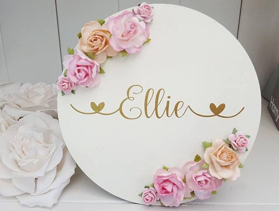 Painted wooden name hoop Name Sign Plaque