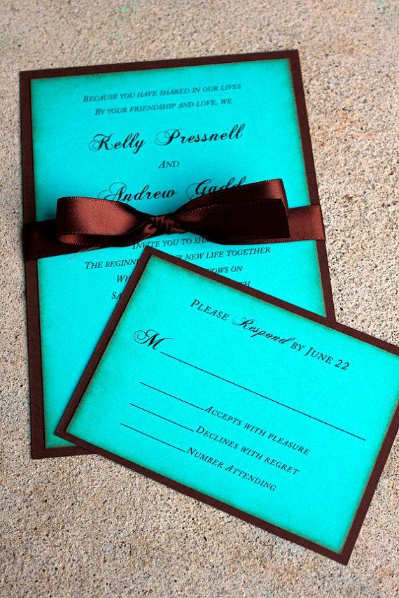 realtree wedding invitations%0A Chocolate Brown and Blue Wedding Invitation Tiffany by SweetSights