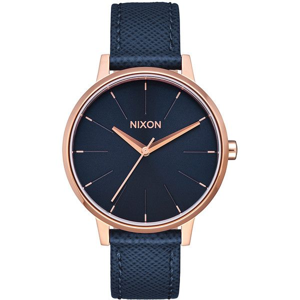 Womens Nixon Kensington Leather Watch Gold Leather (620 RON) ❤ liked on Polyvore featuring jewelry, watches, analog watches, gold, womens watches, gold wristwatch, analog wrist watch, navy blue watches, yellow gold watches and gold jewelry