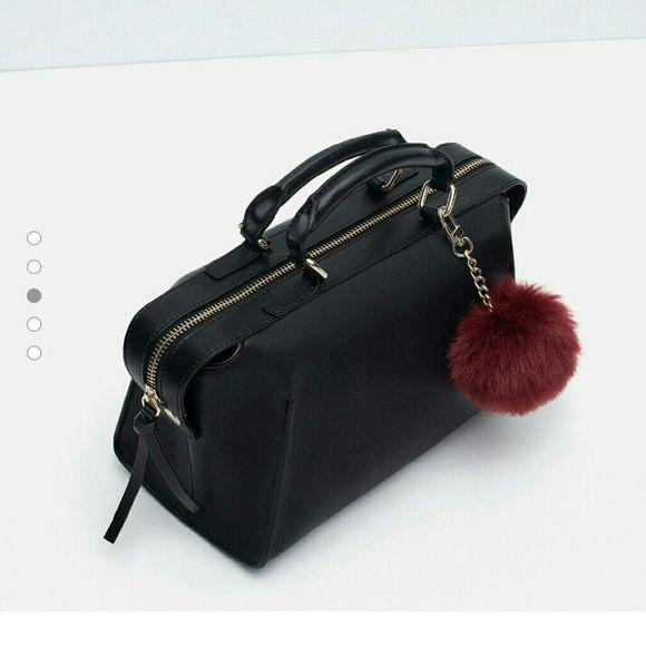 ZARA MINI DUFFEL BAG WITH POMPOM Sold out online and in stores   Zara mini duffel bag  65 thru merc or pal! Zara Bags Crossbody Bags