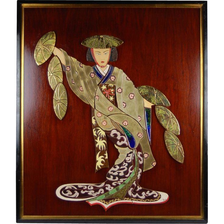 Mid-century Modern Ceramic Tile Mural of Geisha Girl Irina Lorin from colinreedantiques on Ruby Lane