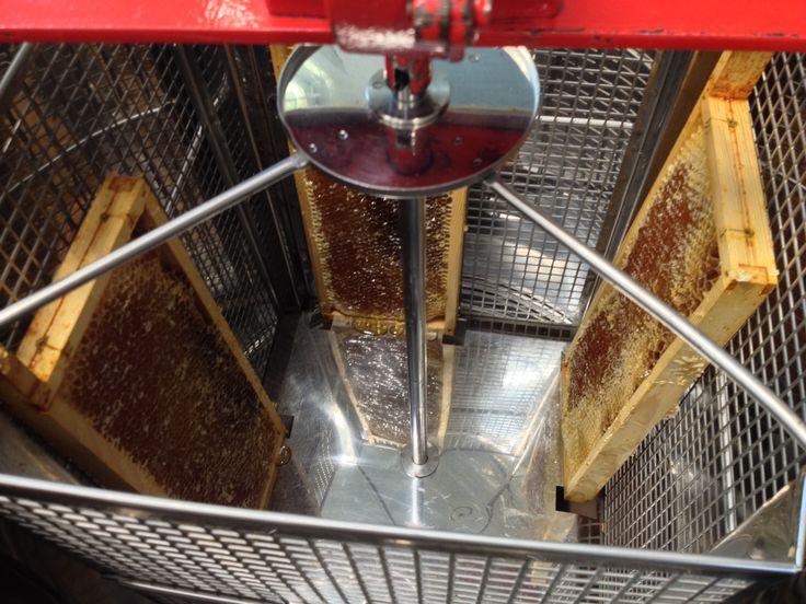 De honingraten in de honingslinger