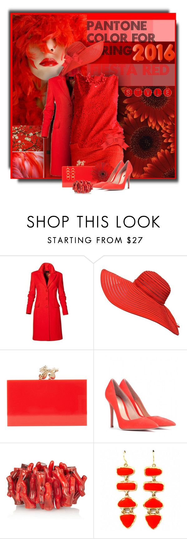Fiesta Red...Pantone Color for Spring 2016 by cathy1965 on Polyvore featuring Gianvito Rossi, Charlotte Olympia, Kenneth Jay Lane and Fantasy Jewelry Box