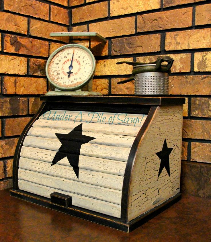 Old Primitive Painted Breadbox...with stars.