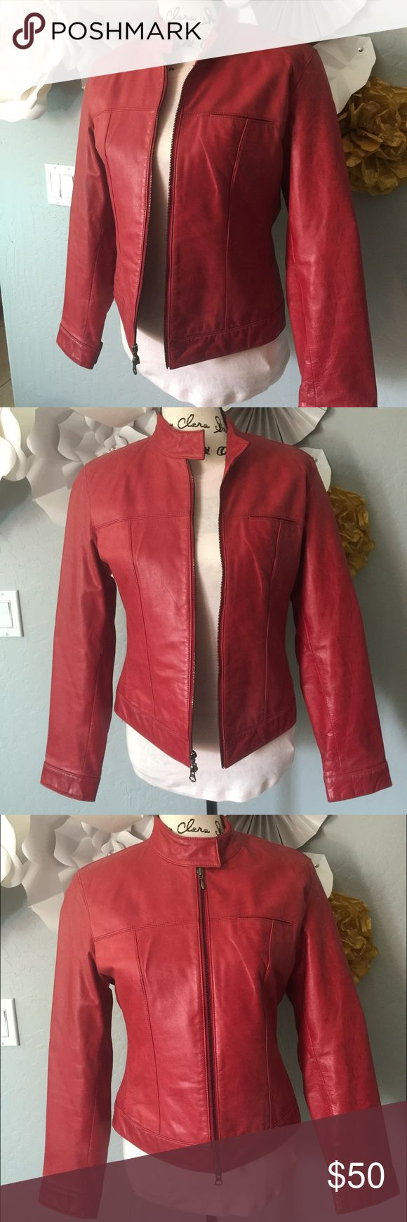 Vintage red leather jacket Red leather jacket, broken in but still in good shape and in style Jackets & Coats