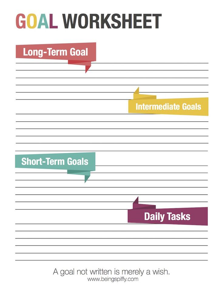 A goal not written is merely a wish. Free goal worksheet from Being Spiffy. #goal #print