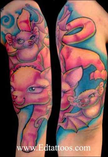 56 best new school tattoos images on pinterest new for Bat sleeve tattoo