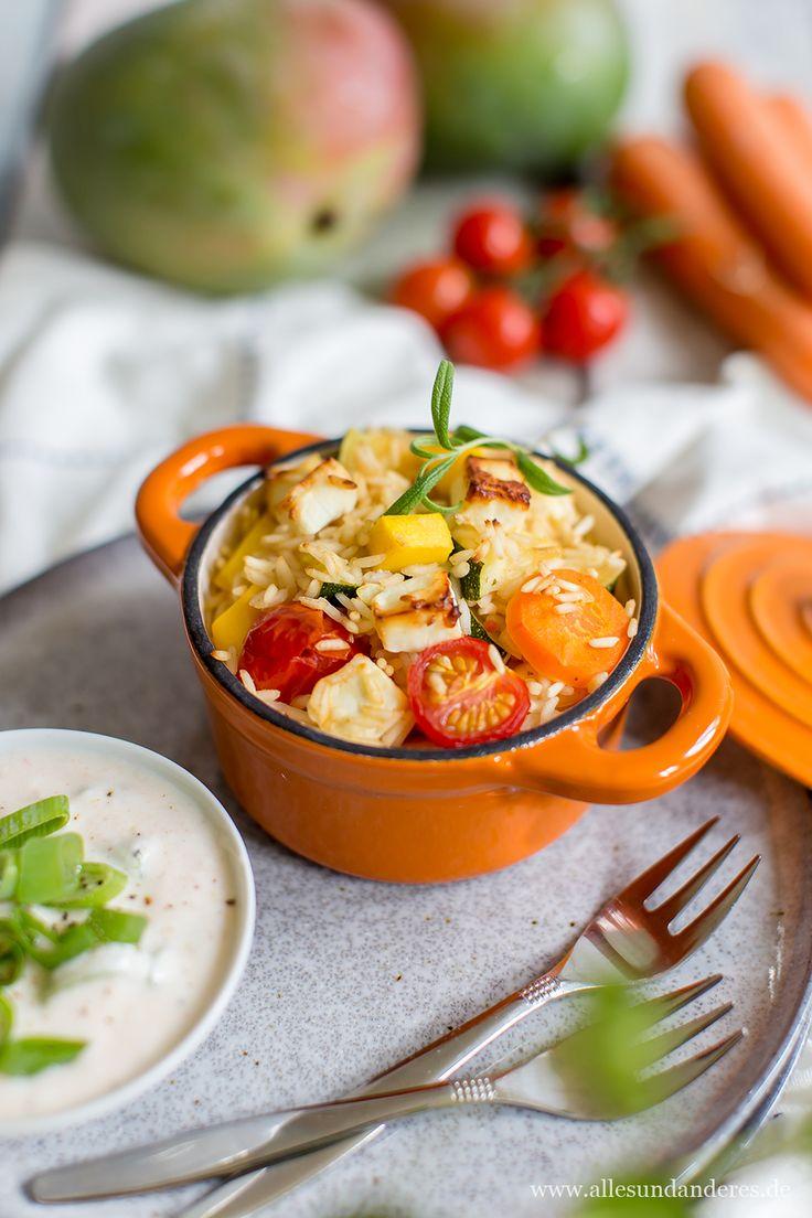 Rezept für leckeren Gemüse-Mango-Reis aus dem Ofen mit frischem Joghurt-Dip
