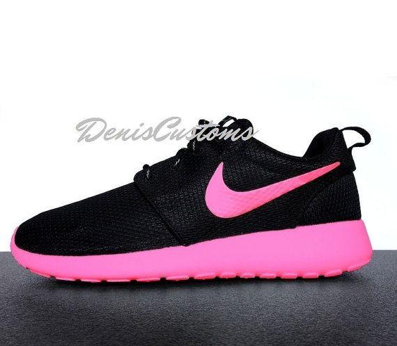 Nike Roshe Run Black Custom Pink Sole and Swoosh Paint
